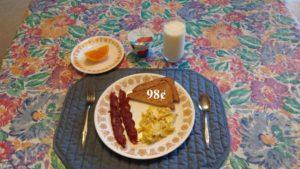 bacon, eggs yogurt
